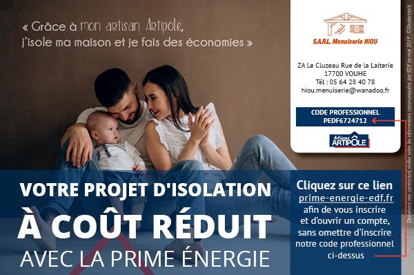 Cliquez sur ce lien prime-energie-edf.fr afin de vous inscrire et d'ouvrir un compte, sans omettre d'inscrire notre code professionnel ci-dessus